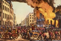 An illustration of an early fire in New York City.