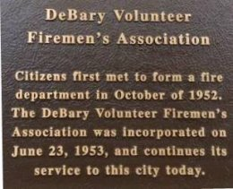 DeBary Volunteer Firemen's Association 60th Anniversary Plaque